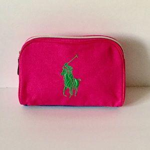 Polo Ralph Lauren Pink Green Makeup Bag